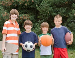 Four boys ready for outdoor fun